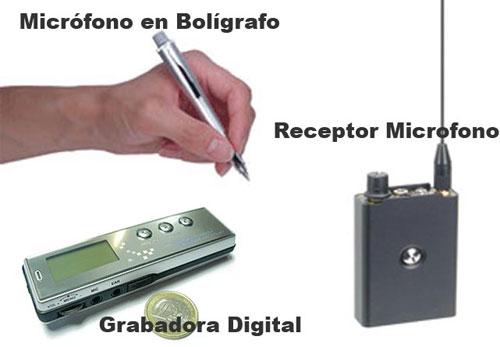 Kit Microfono en boligrafo, Receptor y Grabadora