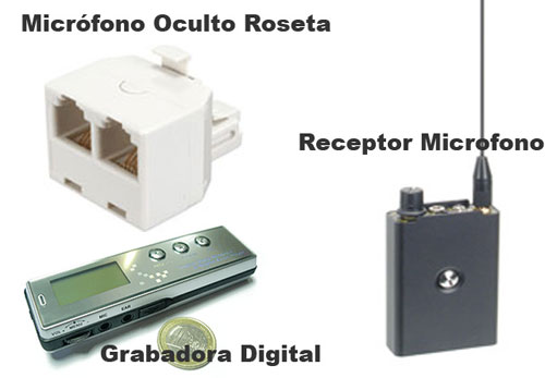 Kit Microfono en Roseta, Receptor y Grabadora