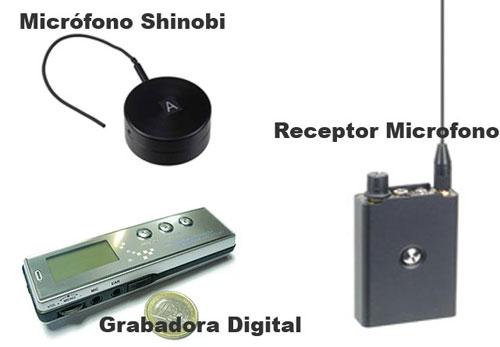 Kit Microfono Shinobi III, Receptor y Grabadora