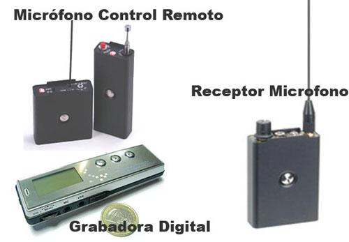 Microfono Control Remoto, Receptor y Grabadora