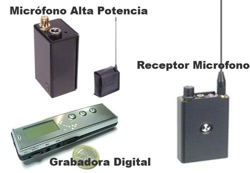Microfono Alta Potencia, Receptor y Grabadora