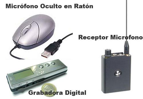 Kit Microfono en Raton, Receptor y Grabadora